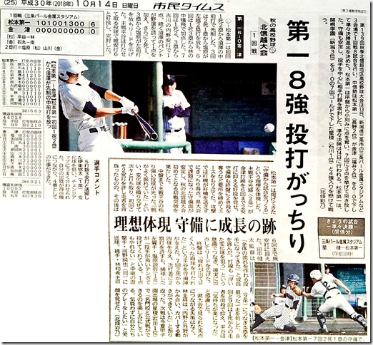 秋の高校野球北信越8強2018